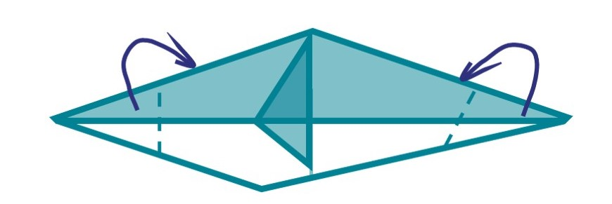 10) Fold the front and back pointed sections of your design backwards (i.e. behind the design) to flatten the front of your whales head, and to make a tail.