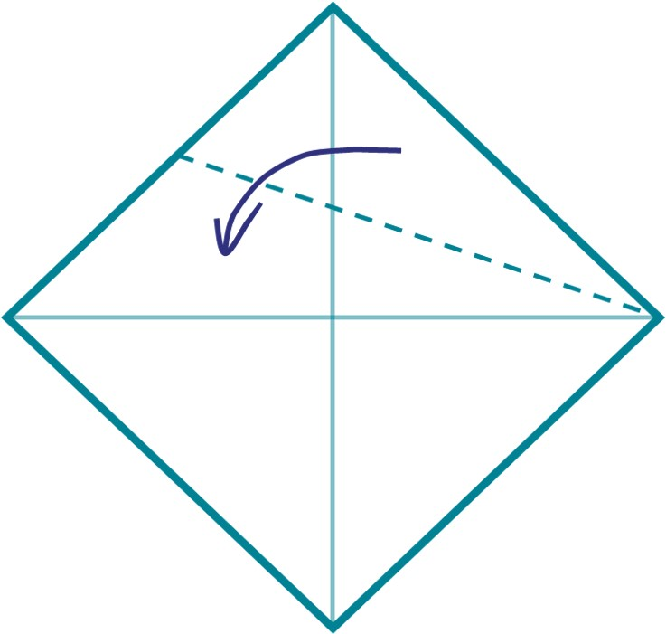 2) Bring the top corner to the central line of your square, and fold along the middle line.