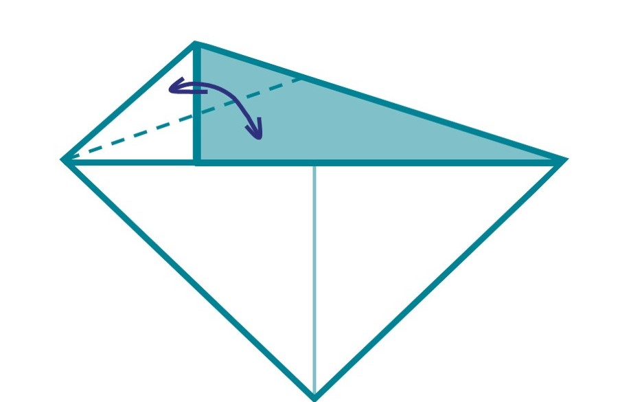 3) Fold the remaining paper on the top half of your diamond into the centre, again folding along the middle line.