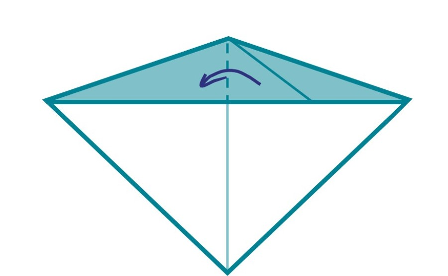 5) Move the triangle you have just made across to the opposite side of your diamond.