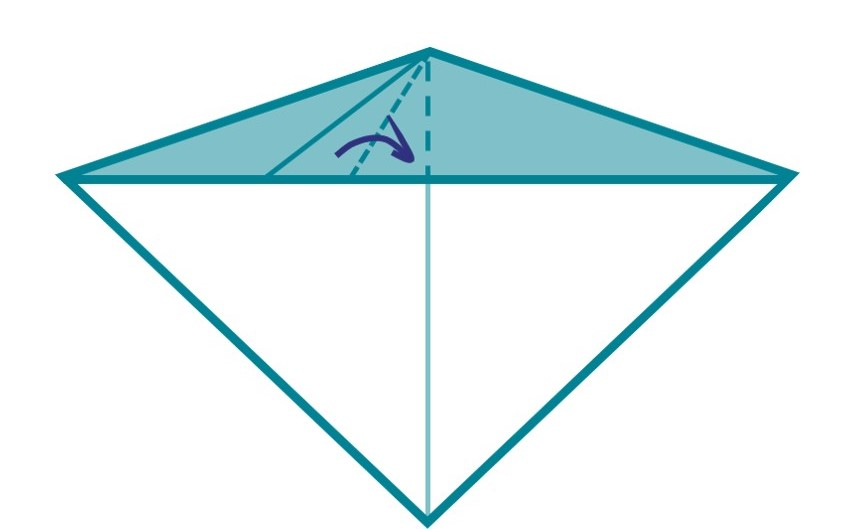 6) Fold your triangle in half along the middle line. This will make your whales pectoral fin!