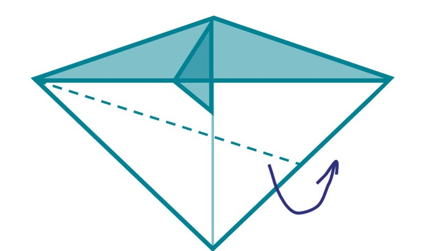 7) Next, fold the bottom half of your design up towards the middle line. This should be done on the opposite side of your design.