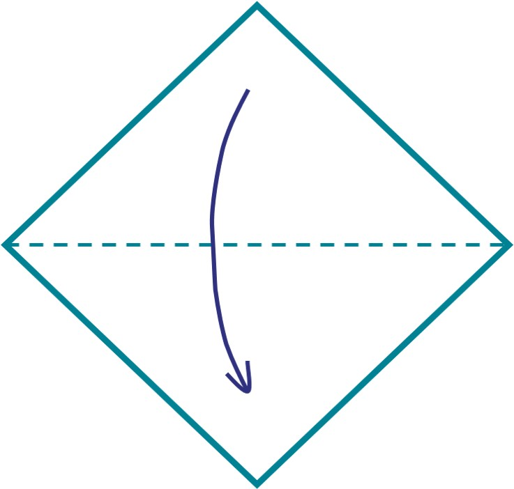 1) Fold your piece of card or paper in half once to make a triangle.