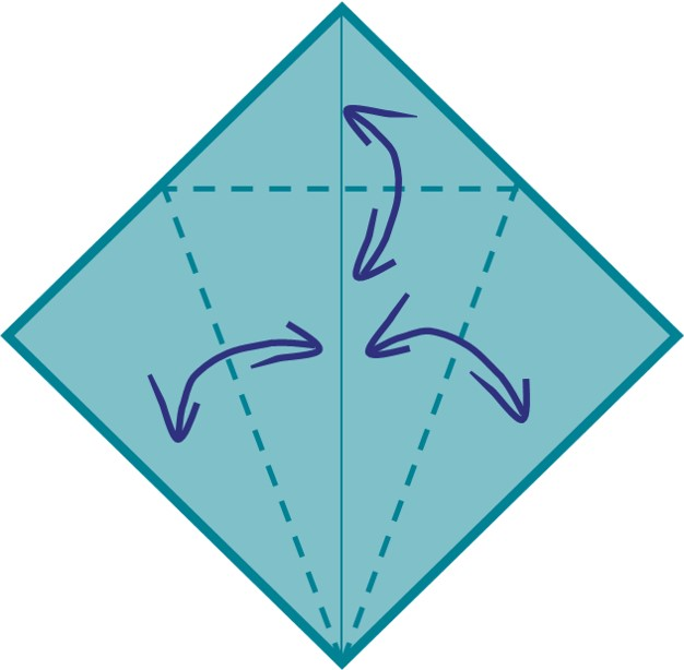 7) Fold your diamond shape along the lines, as shown in the picture. Then unfold.