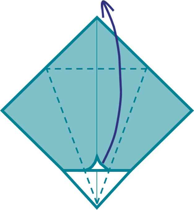 8) Lift the corner of the diamond closest to yourself and bring it across to the opposite side of the diamond.  This is fiddly, so take your time!