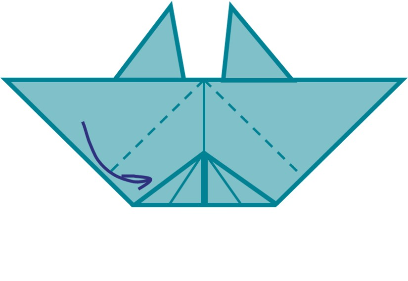 10) Fold the remaining corners of your triangle towards you. This will make your crabs legs.