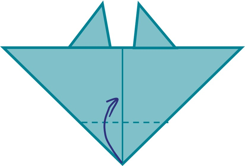 9) Fold bottom tip of your top triangle towards the centre.
